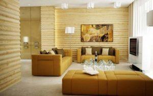 Светлая спальня с блокхаусом