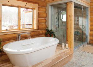 Необычная ванная в деревянном доме