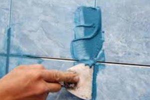 Синяя плитка с синими швами