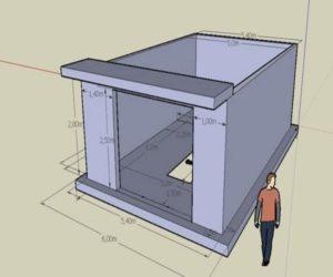 Модель гаража с размерами