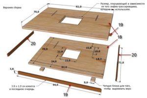 Детали самодельного стола для фрезерных работ