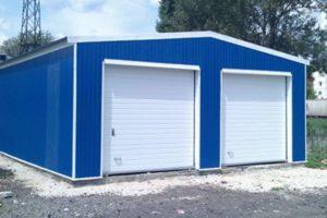 Синий гараж из панелей СИП
