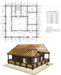 Чертеж и модель дома
