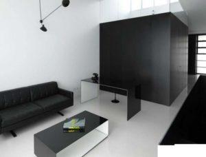 Черный шкаф в гостинной минимализма
