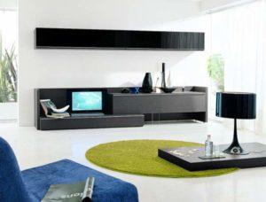 Зеленый коврик в гостинной минимализма