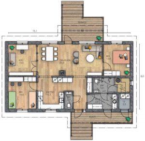 План дома в один этаж
