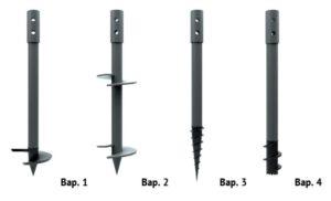 Существуют 4 распространенные формы свайных столбов: