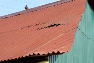 Крыша покорежилась
