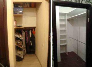 Создание проекта и дизайна гардеробной комнаты из кладовки и фото