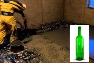 При строительстве бани теплый пол из бутылок можно сделать непосредственно на грунте