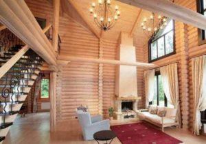 Интерьер деревянного дома, и в частности мансарды