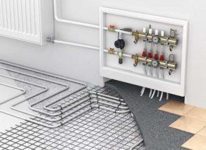 Устройство этого типа заключается в укладке труб, наполненных теплоносителем под напольное покрытие в замкнутый контур.