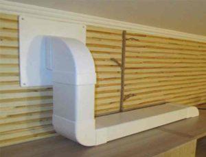 Проще всего будет спрятать воздухоотвод в кухонной комнате при помощи короба, который сделан из пластика,