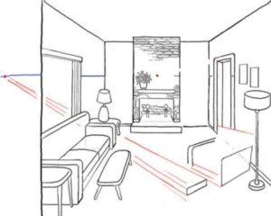 Удалите линии внутри прямоугольника посредством ластика и начините рисовать очертания предметов мебели – дверь, стойку торшера, спинку дивана и прочее.