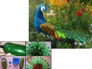 Как сделать павлина из пластиковых бутылок для дома
