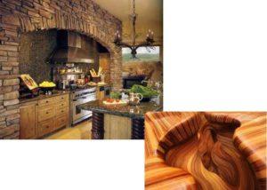 Обычно в кухне дерево будет занимать участие в виде предметов мебели