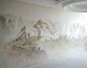 Декоративной краской можно воссоздать на стене эффекты шелка, дерева, камня и т.п.