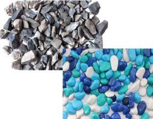 Не крашеный щебень применяется в строительстве, например, его добавляют в раствор для фундамента.