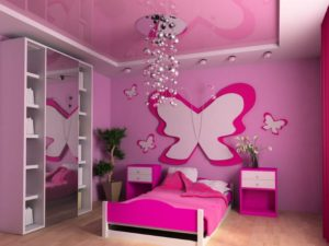 Розовый натяжной потолок (матовый и глянцевый) + фото