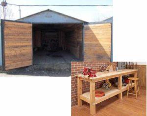 Строительство гаража из оцилиндрованных бревен.