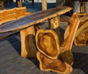 Садовая мебель из бревна своими руками