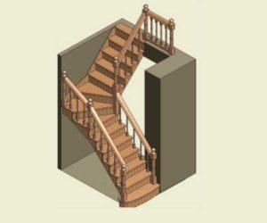 Конструкция лестницы с забежными ступенями + чертеж