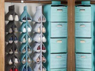 Декоративные коробки для открытого стеллажа применяют не только для обуви
