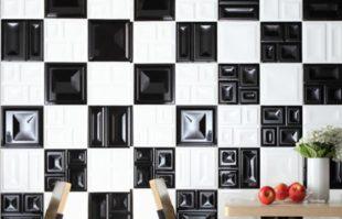 Современные обои для черно-белой кухни + фото