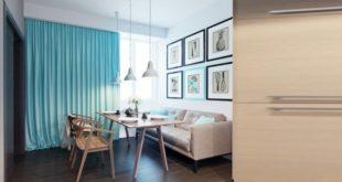 Голубые шторы в интерьере дома