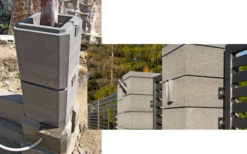 Пустотыел блоки из бетона для оград имитируют всевозможные материалы