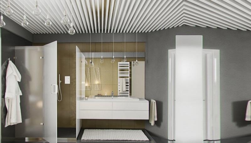интерьер с реечными потолками